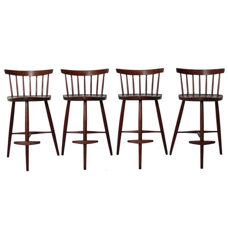 Set Of Four Bar Stools By George Nakashima At 1stdibs