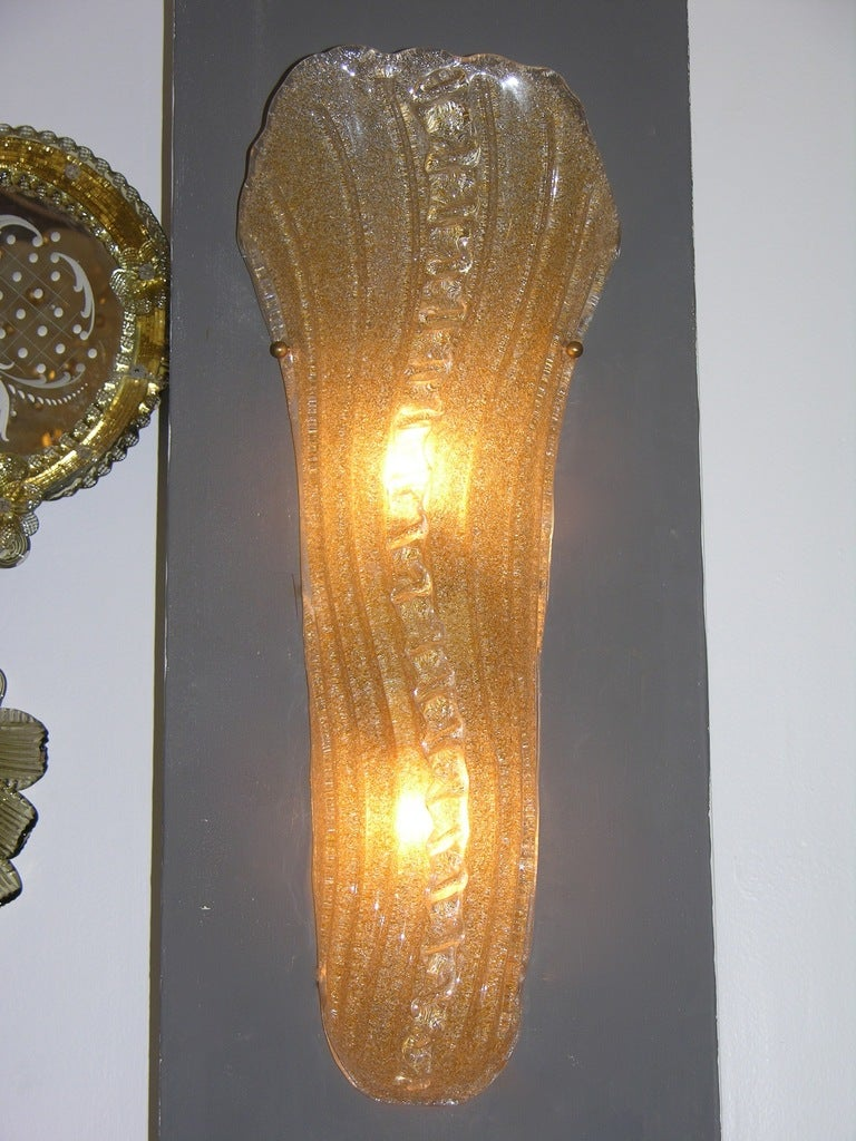 Amber Glass Wall Lights : Vintage Italian Pair Of Barovier-Toso Amber Murano Glass Wall Lights at 1stdibs