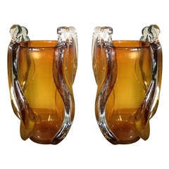 Sexy Pair of Italian Amber Glass Vases by Pino Signoretto