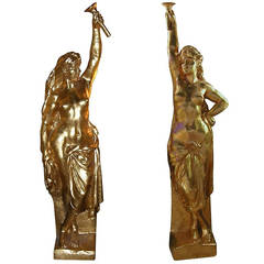 1950s French Monumental Gilded Wood Girls Architectural Statues for Crazy Horse