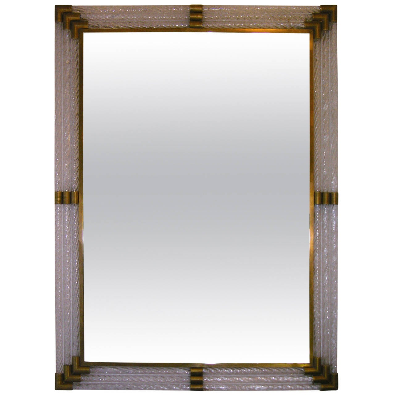 italian mirror with twisted glass frame attributed