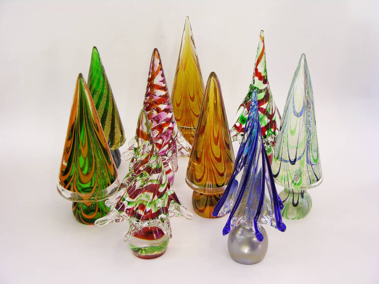 Vintage Italian Murano Glass Christmas Tree Sculptures by Formia