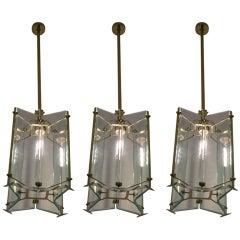 1930s Set of Three Italian Star-Shaped Lanterns