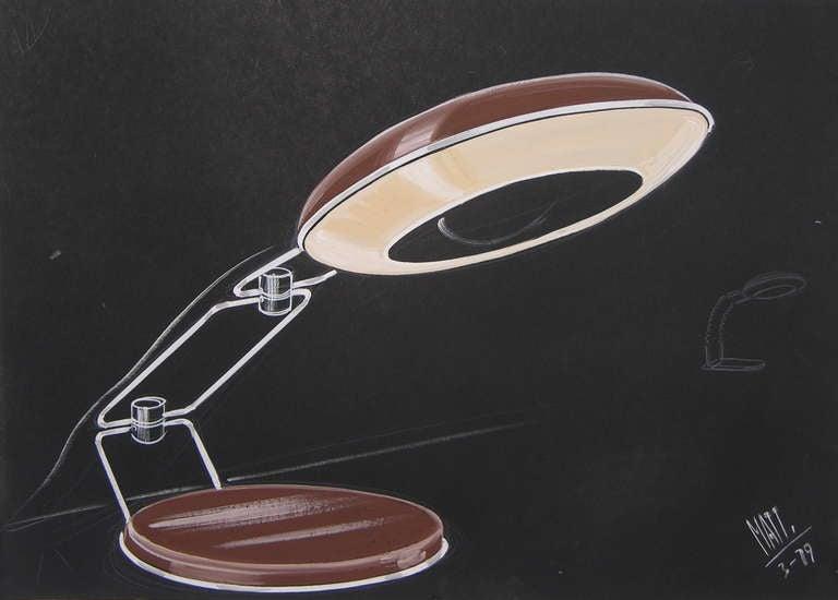 Mid-Century Modern 1979 Luciano Mattioli 2 Italian Design Drawings for a Modern Desk Light Project  For Sale