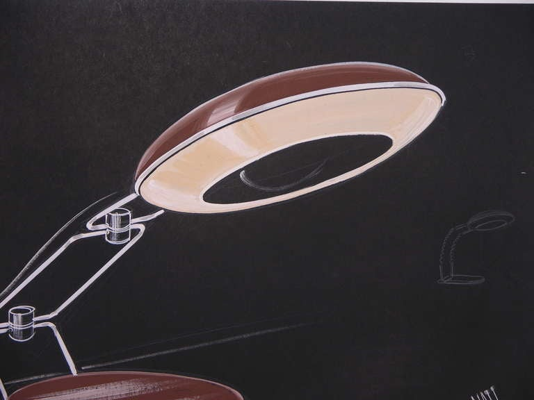 Hand-Painted 1979 Luciano Mattioli 2 Italian Design Drawings for a Modern Desk Light Project  For Sale