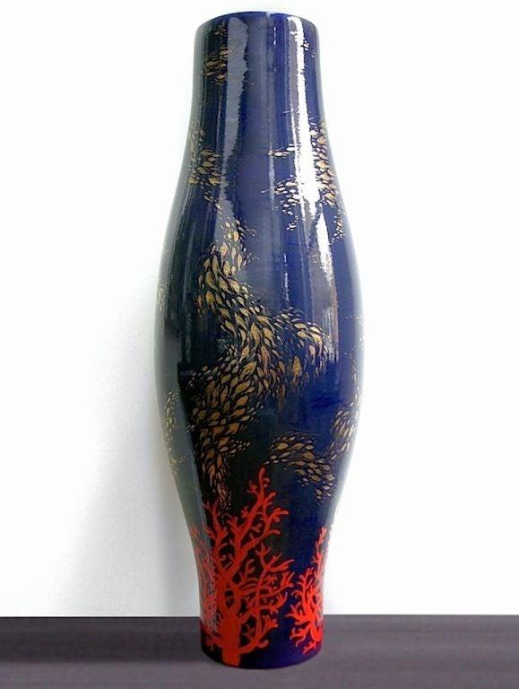 Modern Italian Monumental Gold, Red, Blue Vase by Ceramica Gatti with Sea Deco 2