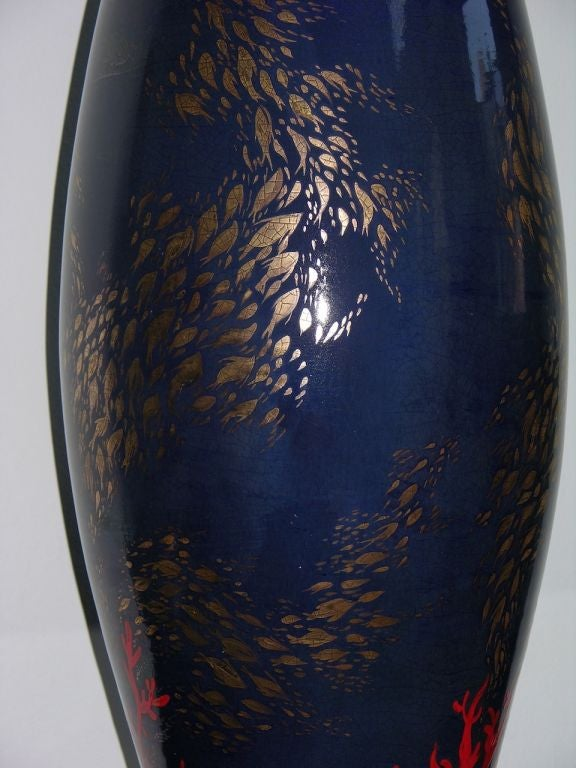 Organic Modern Modern Italian Monumental Gold, Red, Blue Vase by Ceramica Gatti with Sea Deco For Sale