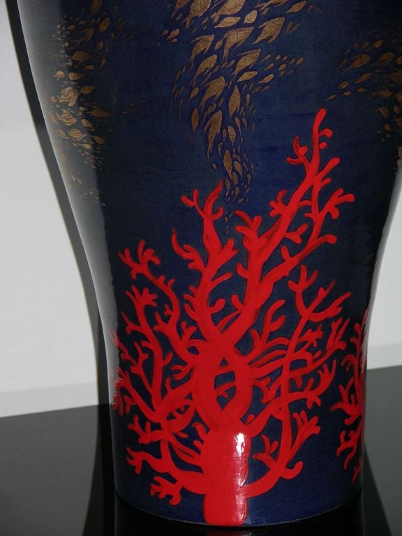 Hand-Crafted Modern Italian Monumental Gold, Red, Blue Vase by Ceramica Gatti with Sea Deco For Sale