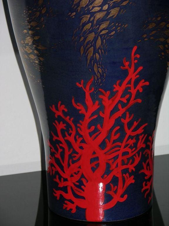 Modern Italian Monumental Gold, Red, Blue Vase by Ceramica Gatti with Sea Deco 4