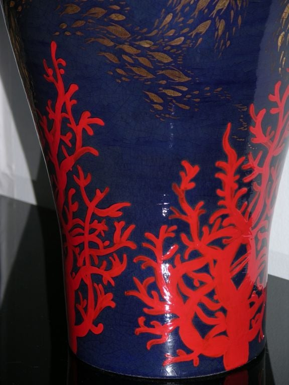 Modern Italian Monumental Gold, Red, Blue Vase by Ceramica Gatti with Sea Deco In Excellent Condition For Sale In New York, NY