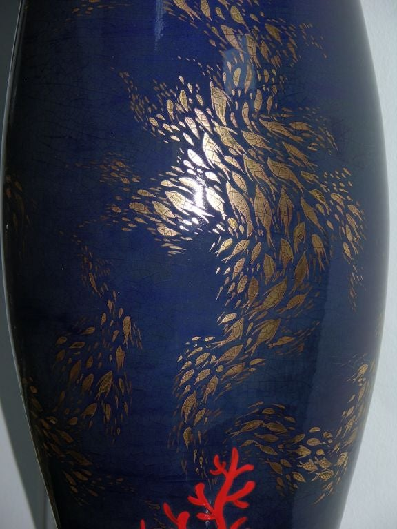 Contemporary Modern Italian Monumental Gold, Red, Blue Vase by Ceramica Gatti with Sea Deco For Sale