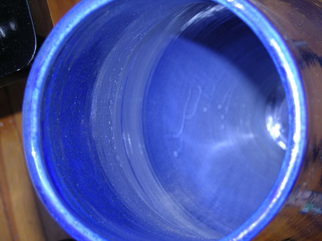 Modern Italian Monumental Gold, Red, Blue Vase by Ceramica Gatti with Sea Deco 7
