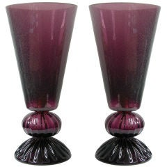 Vintage Italian pair of Murano glass lamps in amazing purple