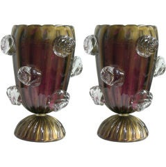 Vintage pair of unusual Murano glass lamps worked with 24kt gold