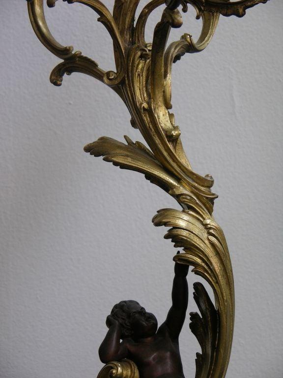 1870 Antique French Pair of Napoleon III Bronze and Ormolu Candelabra 3