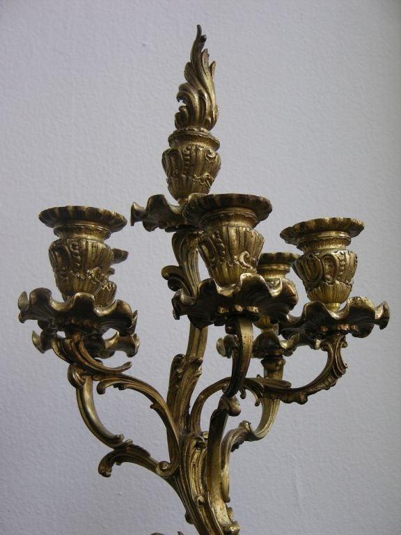 1870 Antique French Pair of Napoleon III Bronze and Ormolu Candelabra 4