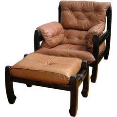 Luciano Frigerio 1970s Italian Mahogany Tan Leather Lounge Armchair & Ottoman