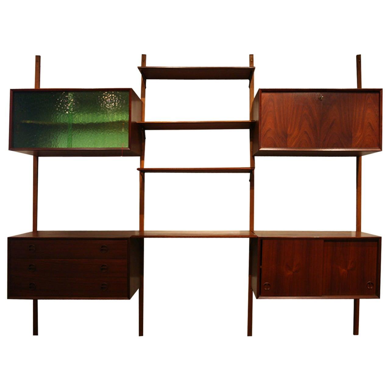 Danish Mid Century Modern Teak Wall System Shelving Bar Cabinet at ...