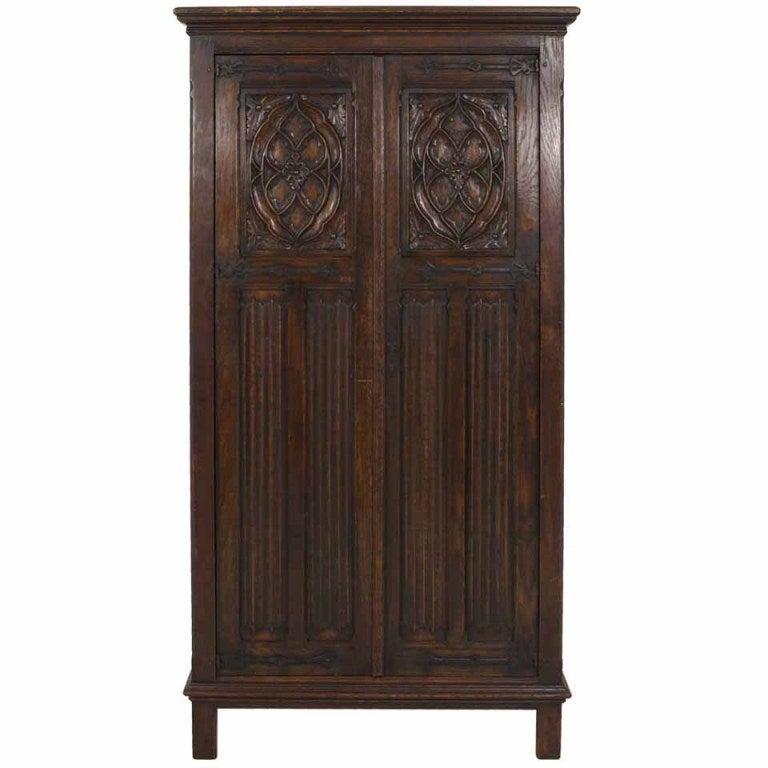 Tudor Style Linen Fold Oak Armoire