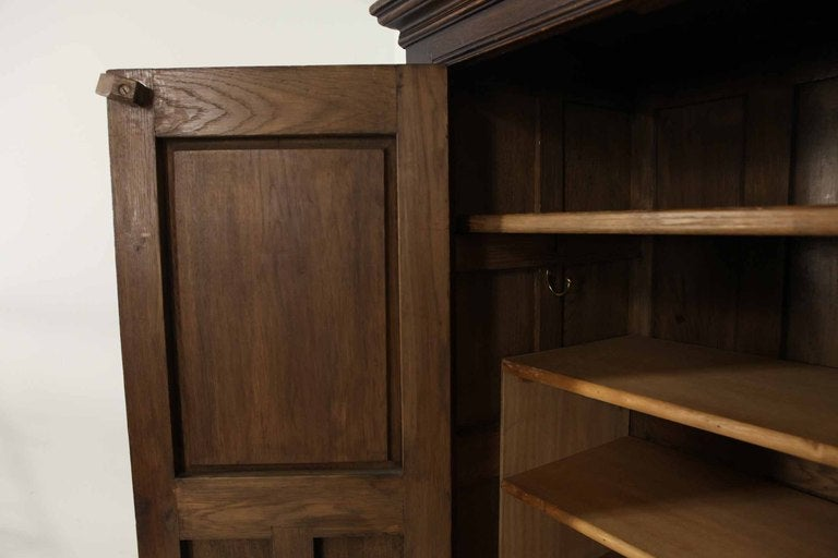 Tudor Style Linen Fold Oak Armoire image 5