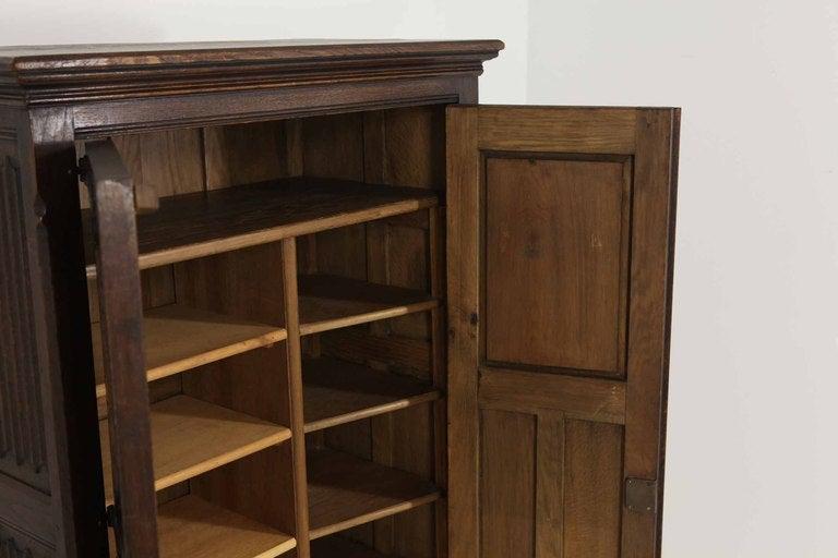 Tudor Style Linen Fold Oak Armoire image 6