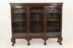 Large Mahogany 3-Door Bookcase / Display Cabinet