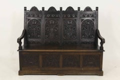 Heavily Carved Victorian Oak Hall Bench / Settle