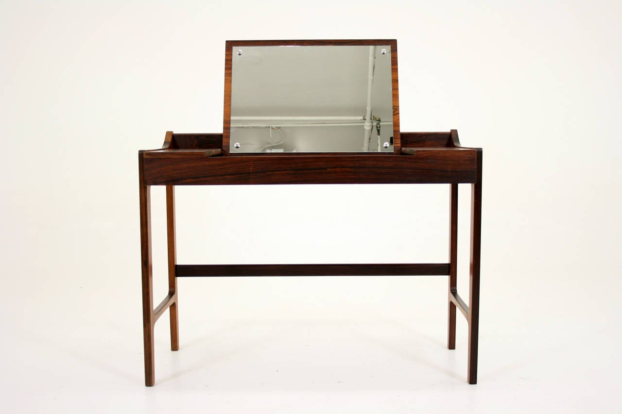 Danish mid century modern rosewood vanity table desk for Vanity desk furniture