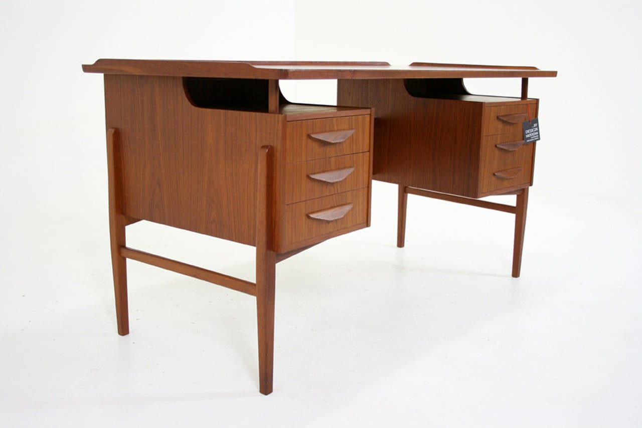 Danish Mid Century Modern Teak Writing Desk Work Table
