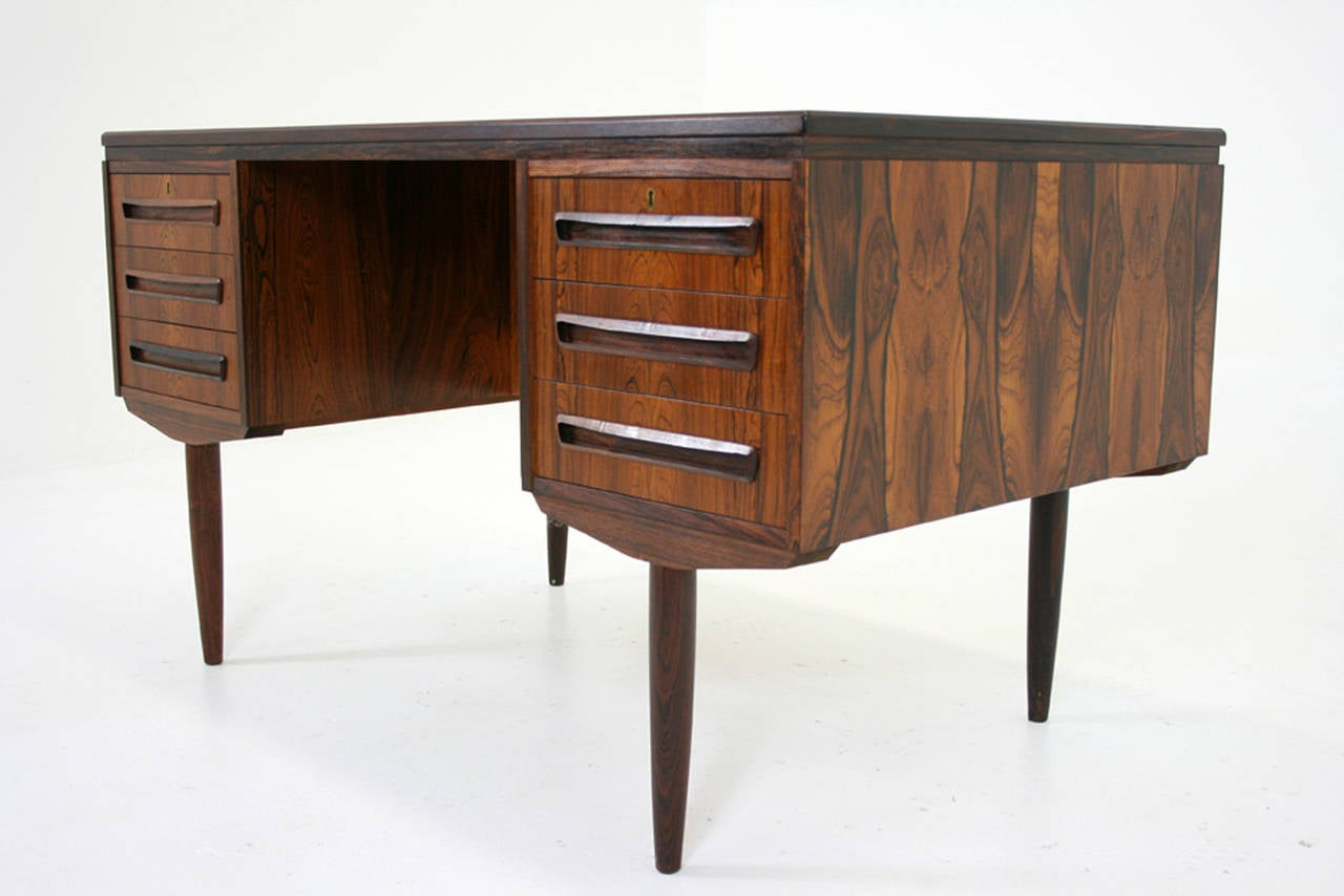 Pair of vintage danish rosewood and brushed steel side cabinets ref - Danish Mid Century Modern Rosewood Writing Flat Top Desk Work Table 2