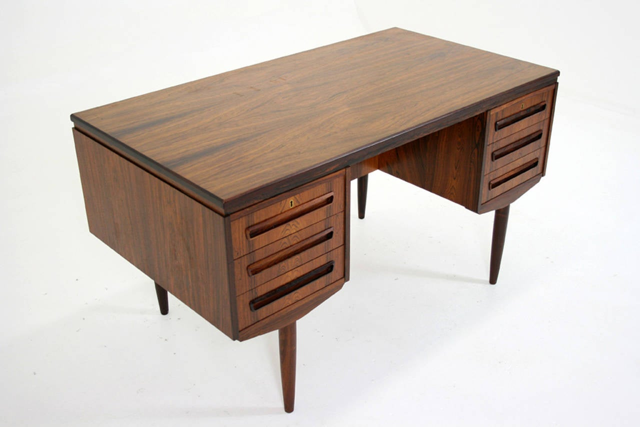 Pair of vintage danish rosewood and brushed steel side cabinets ref - Danish Mid Century Modern Rosewood Writing Flat Top Desk Work Table 3