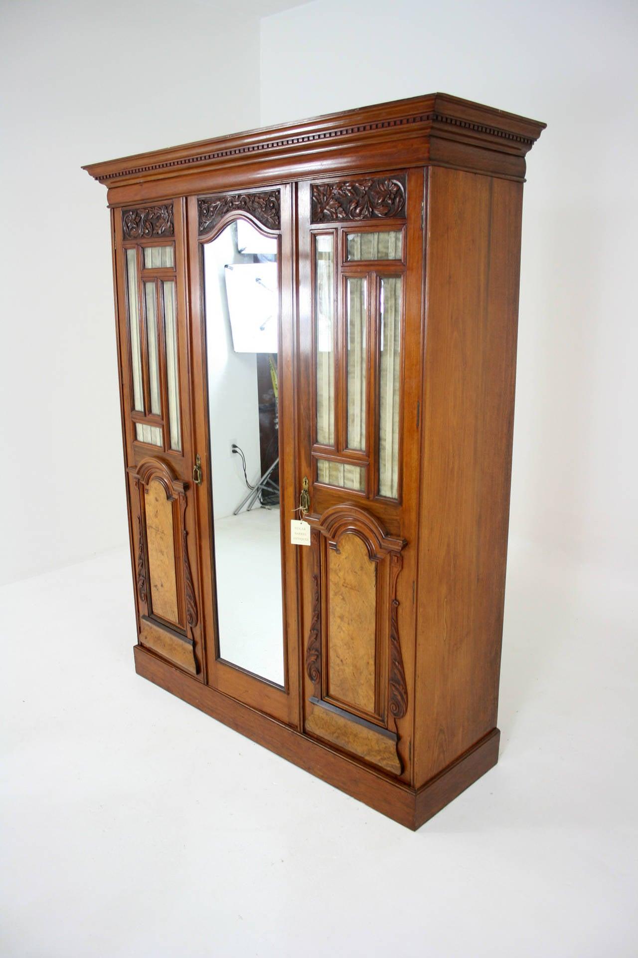 Victorian Walnut 3 Door Wardrobe Cupboard Armoire with ...