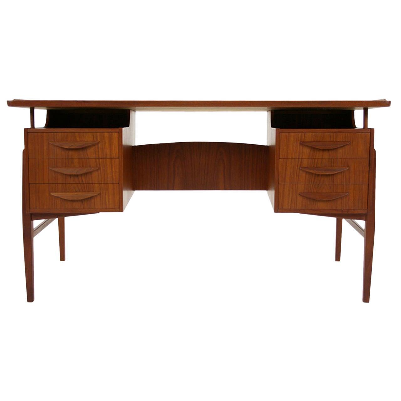Danish Mid Century Modern Teak Writing Desk Work Table