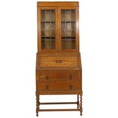 Barley Twist Oak Slant Front Desk With Bookcase Top
