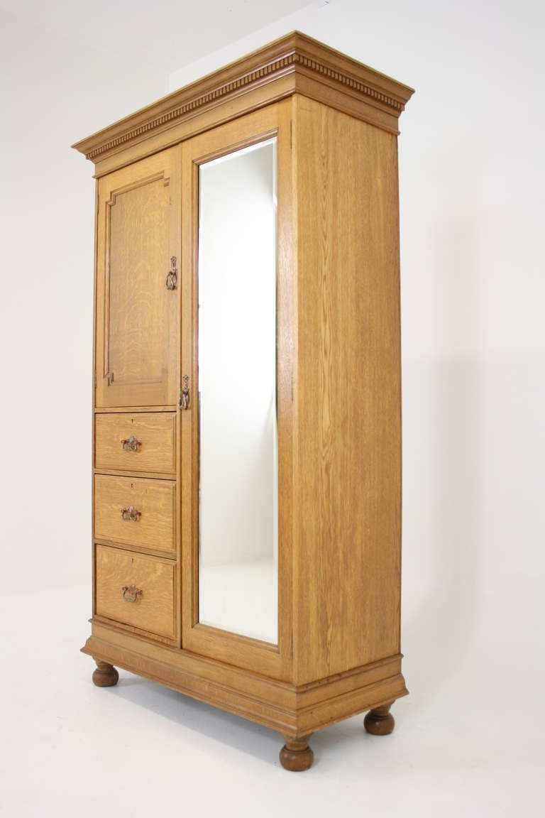 Arts Crafts Oak Armoire Wardrobe At 1stdibs