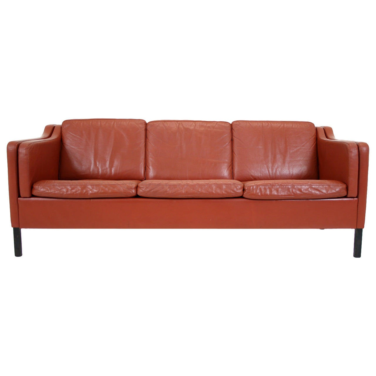 Danish mid century modern leather three seat sofa or for Modern leather furniture