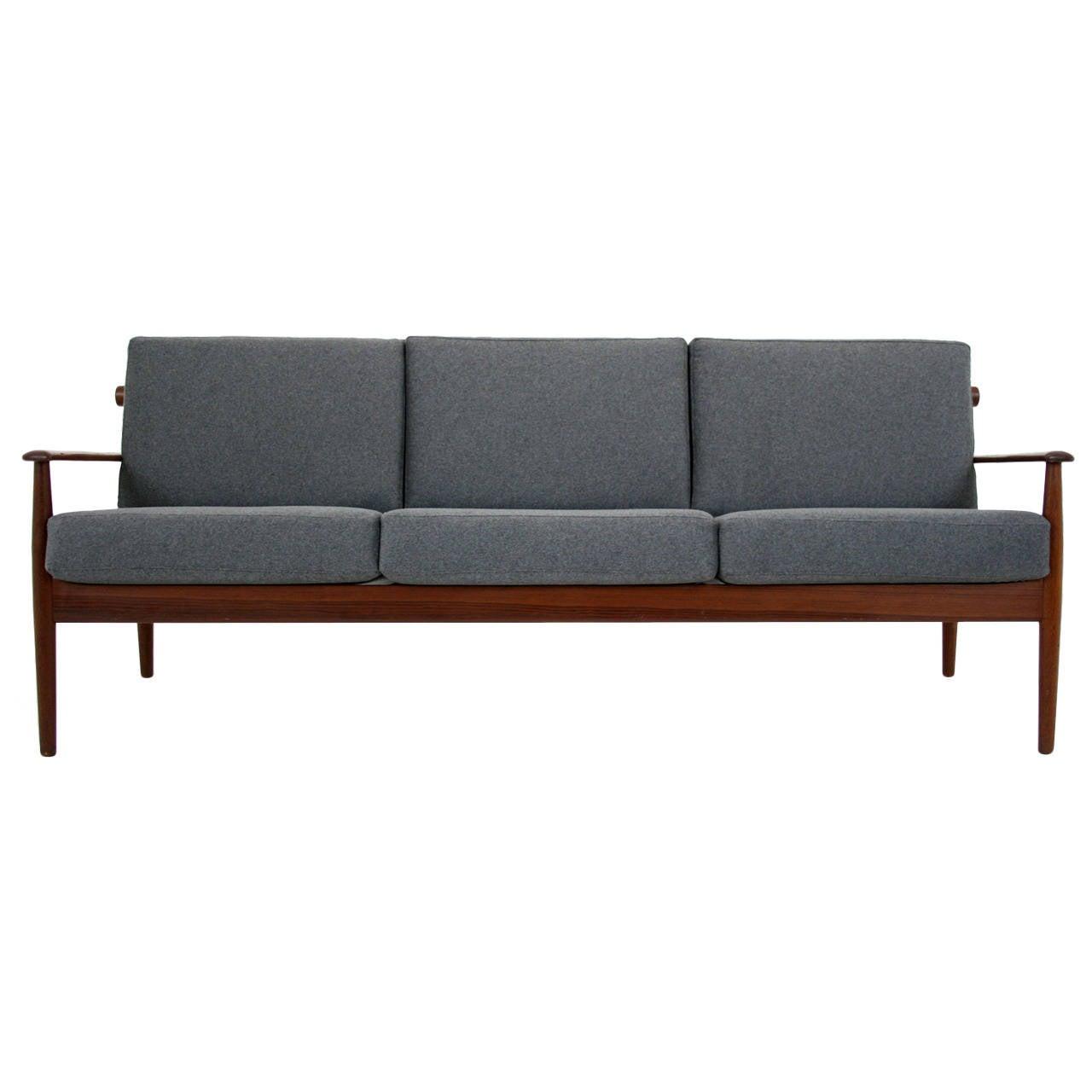 Danish mid century modern stunning teak three seat sofa or couch at 1stdibs - Vancouver mid century modern furniture ...