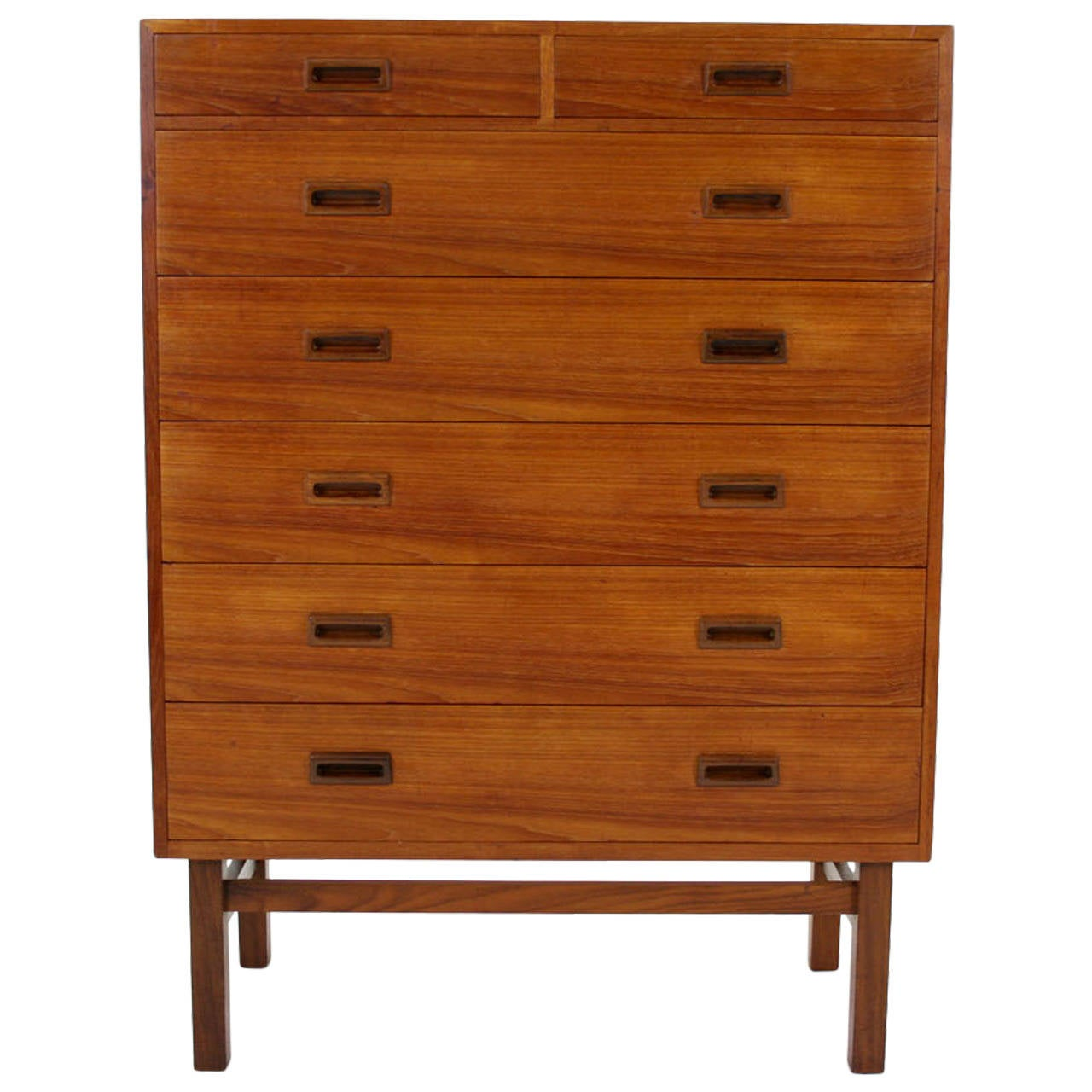 Danish mid century modern teak dresser or chest of drawers