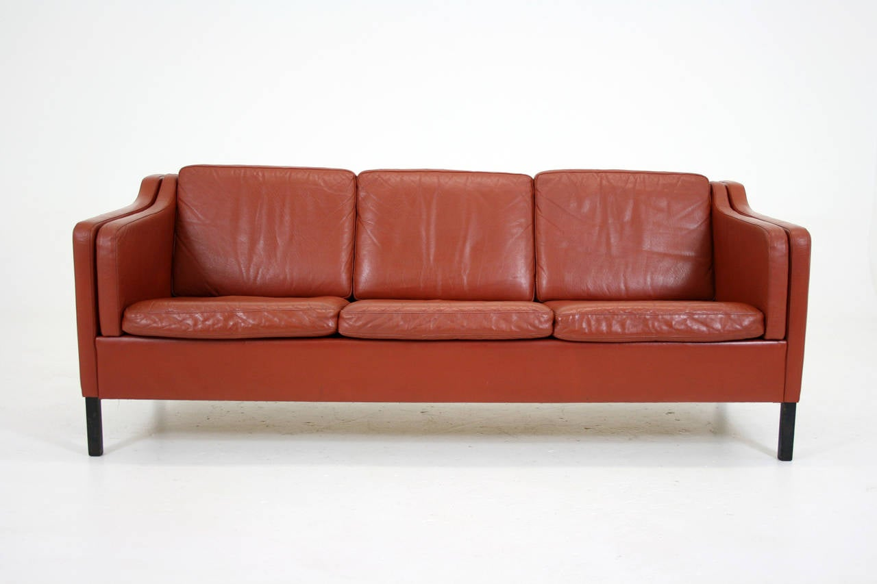 this danish mid century modern leather three seat sofa or loveseat is