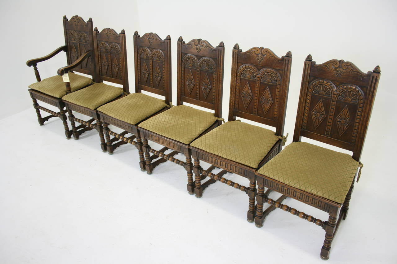 Set of Six Antique Heavily Carved Oak Dining Chairs, Renaissance Revival