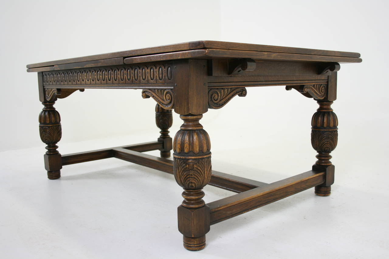 Large Antique Carved Oak Refectory Dining Conference Table