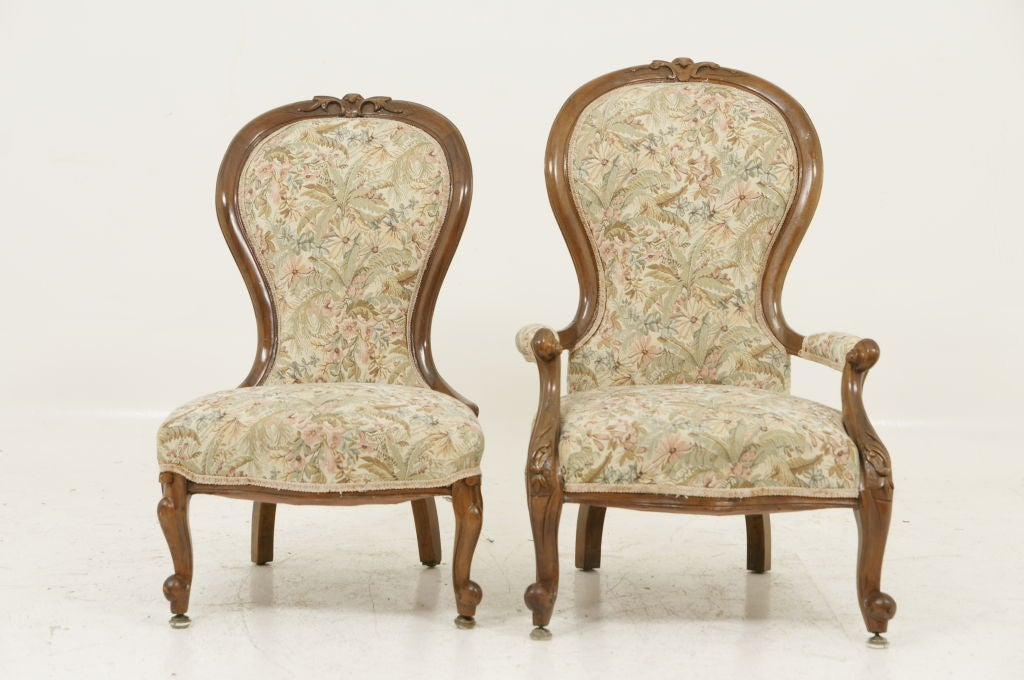 Pair Victorian Ladies and Gents Parlour Chairs image 2