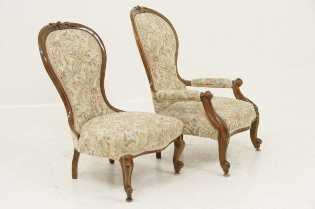 Pair Victorian Ladies and Gents Parlour Chairs image 4