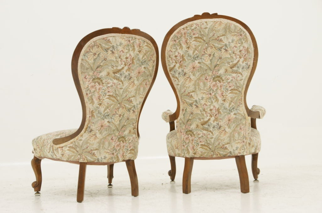 Pair Victorian Ladies and Gents Parlour Chairs image 5