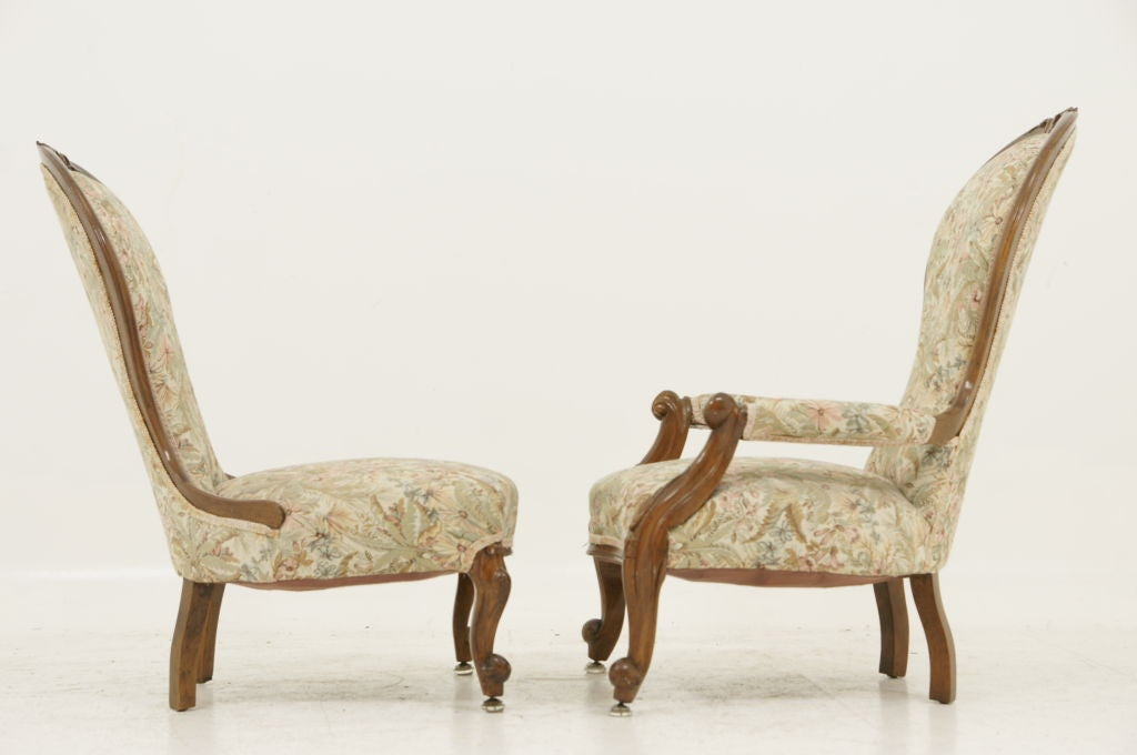 Pair Victorian Ladies and Gents Parlour Chairs image 6