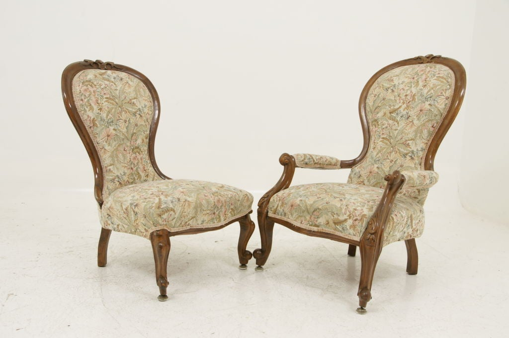 Pair Victorian Ladies and Gents Parlour Chairs image 9