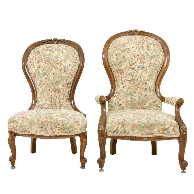 Pair Victorian Ladies and Gents Parlour Chairs