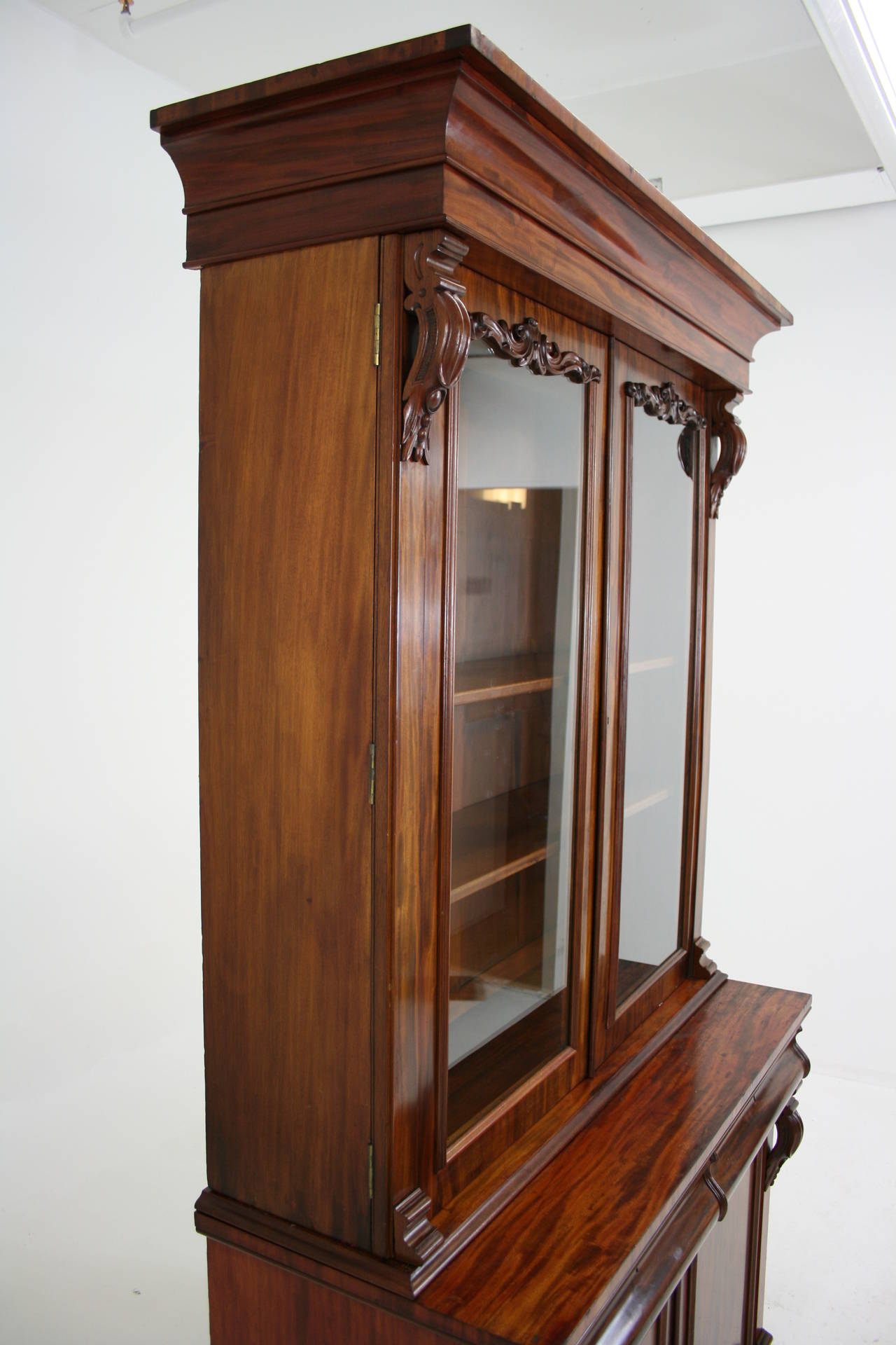 Antique scottish victorian mahogany four door bookcase or for Antique display cabinet
