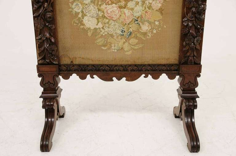 Victorian Mahogany Carved Fire Screen At 1stdibs