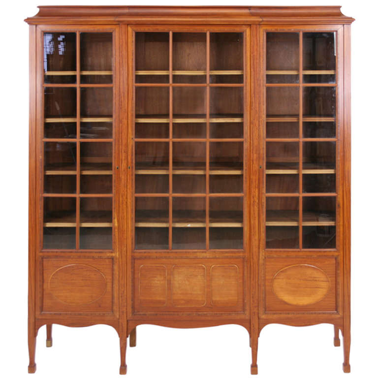 Antique french 3 door mahogany inlaid bookcase display for Mahogany french doors